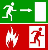 Emergency fire exit door and exit door, sign with human figure