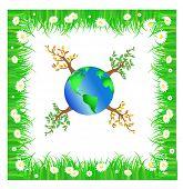 Ilustración de planeta verde con árboles