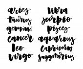 Horoscope Set Lettering Calligraphy Vector Brush Text Illustration Astrology poster