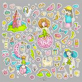 Colored Set Of Teenage Girl Stickers, Cute Cartoon Teen Patches, Fun Stickers Design Vector In Teena poster