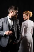 Elegant Couple With Red Wine. Romantic Couple Spending Time Together. Handsome Man With Glass Wine.  poster