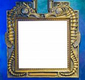 Empty Golden Painting Or Mirror Frame Decorated With Seahorse Animals To Put What Ever You Want On T poster
