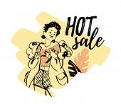 Vector Shopping Hot Sale Banner, Ad, Flayer, Poster Illustration With Beautiful Pixie Girl Model And poster