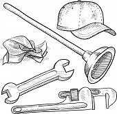 Plumber's tools sketch