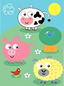 Funny Vector Cartppn Farm Animals