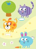 Cat,Dog And Bunny Vector Cartoon Illustration