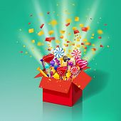 Christmas Sweet Gift Box. Explosion Of Paper Confetti. Open 3d-red Box With Yum, Candy, Jelly, Sweet poster