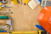 tools set on wood board background texture