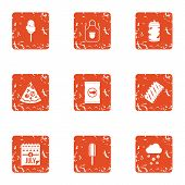 Day Of Freedom Icons Set. Grunge Set Of 9 Day Of Freedom Icons For Web Isolated On White Background poster