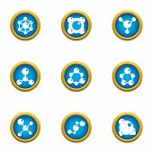 Chemical Agent Icons Set. Flat Set Of 9 Chemical Agent Icons For Web Isolated On White Background poster