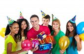 stock photo of party hats  - Group of teenagers celebrate birthday - JPG
