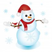 Image of Santa snowman, complete with Santa hat, red scarf, and cardinal, surrounded by snowflakes. Perfect for any Christmas project.