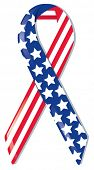 Satin awareness ribbon in American flag pattern, representing support of freedom and nation, remembr