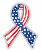 Smooth, satin awareness ribbon in American flag pattern