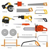 Saw Vector Sawing Equipment Hand-saw Hacksaw Chainsaw And Pullsaw Sawdust Carpentry Metal Tool With  poster