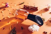 Bottle Of Perfume With Ingredients. Fragrance Of Flowers, Spices, Herbs And Fir Tree poster