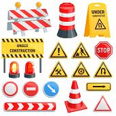 Road Barrier Vector Street Traffic-barrier Under Construction Warning Barricade Blocks On Highway Il poster