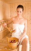 Woman and sauna
