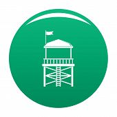 Rescue Tower Icon. Simple Illustration Of Rescue Tower Vector Icon For Any Design Green poster