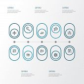 Holiday Icons Line Style Set With Candy Cane, Lights Garland, Snowflake Halo Elements. Isolated Vect poster