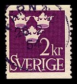 SWEDEN-CIRCA 1952:A stamp printed in SWEDEN shows image of Arms of Gustaf V as Duke of Varmland, until the dissolution of the Union between Sweden and Norway in 1905, circa 1952.