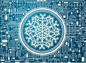 Blue Christmas Chipset Background With Huge White Snowflake In The Center. Futuristic Holiday Techno poster