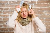 What To Know About Breaking Fever. Woman Tousled Hair Scarf Hold Glass Water And Tablets Blister. Gi poster