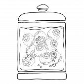Medical Jar With An Eyeball In A Liquid. Vector Illustration Jar With An Eyeball In A Liquid With Bu poster