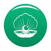 Opened Shell Icon. Simple Illustration Of Opened Shell Vector Icon For Any Design Green poster