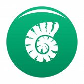 Striped Shell Icon. Simple Illustration Of Striped Shell Vector Icon For Any Design Green poster