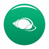 Small Shell Icon. Simple Illustration Of Small Shell Vector Icon For Any Design Green poster