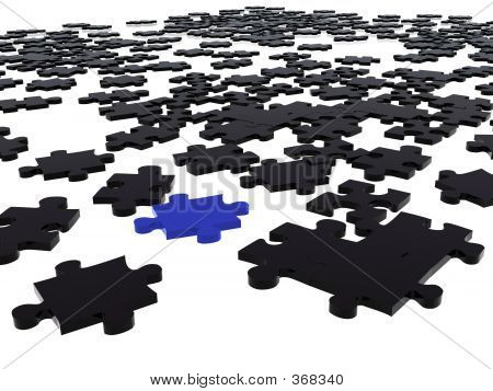Picture or Photo of Black puzzle pieces in 3d