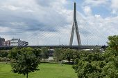 picture of paul revere  - Zakim bridge from Paul Revere park in Boston Massachusetts  - JPG