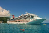stock photo of cruise ship  - Cruise ship docked at Ocho Rios in Jamaica a popular tourist destination - JPG