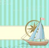 Vintage Card With Boat