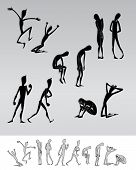 Emotional people cartoon silhouettes