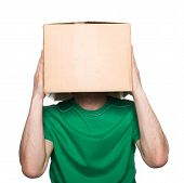 stock photo of character traits  - An anonymous man with a box on his head concealing his identity - JPG
