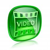 Film Icon Green Glass, Isolated On White Background.