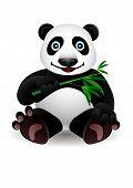 little cartoon panda and bamboo