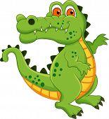 cute green crocodile cartoon