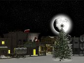 Постер, плакат: Западная город: Санта Клаус и олени 1