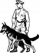 Guardia de fronteras con perro