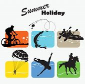 Descanso activo, vacaciones de verano, Icon Set, Vector Illustration