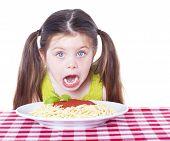 Beautiful Girl Eating Pasta