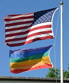 American And Gay Pride Flags