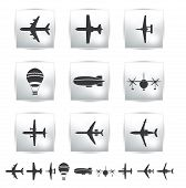 Vector collection different airplane silhouettes.