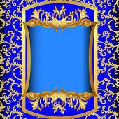 Blue Background  With Gold(en) Sample On Background Of The Pattern