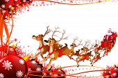 illustration of santa and his sleigh on red background