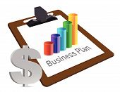 Business Plan Chart And Currency Illustration Design