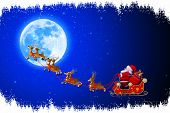 santa with reindeers sleigh going towards moon